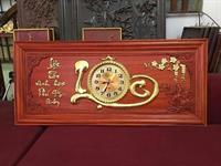 Đồng Hồ Gỗ Chữ Nổi Dát Vàng - H68