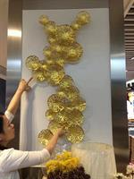 Tranh Sắt nghệ thuật lá sen mạ vàng cao cấp BH669-2
