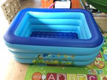 Bể bơi gia đình 3 tầng hình chữ nhật loại lớn, Tặng Bơm điện hút xả hơi 2 chiều(Green)