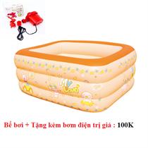 Bể bơi phao 3 tầng 1.6m x 1.1m x 0.5m cho bé ( màu cam) + tặng kèm bơm điện