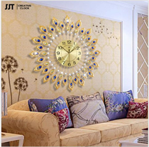 Đồng hồ treo tường phòng khách Công xòe ngũ sắc jt1513-90cm