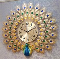Đồng hồ treo tường nghệ thuật chim công vàng may mắn BH937V - Mang bình an cho gia chủ