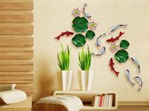 Tranh gốm tráng men hoa sen và cá
