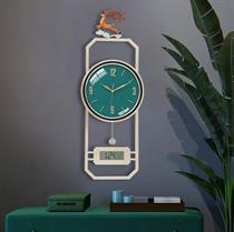 Đồng hồ treo tường nghệ thuật hươu tài lộc  đo nhiệt độ, tích hợp lịch âm dương-BHĐ01