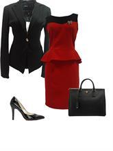 Set Váy peplum đỏ + Áo khoác (Đ607 + Ve001)