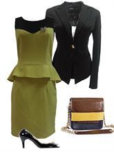 Set Váy peplum xanh cốm và áo khoác đen (Đ607 + Ve001)