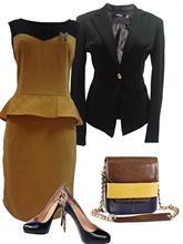 Set Váy peplum nâu vàng và áo khoác đen (Đ607 + Ve001)