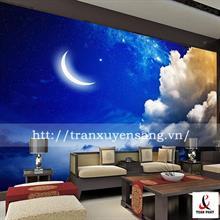 Vách xuyên sáng phòng khách in bầu trời đêm