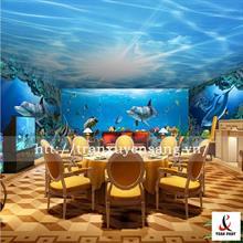 Mẫu trần xuyên sáng phòng VIP nhà hàng in hình bầu trời
