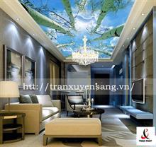 Mẫu trần phòng khách xuyên sáng in bầu trời số 1