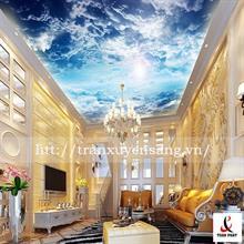 Mẫu trần phòng khách xuyên sáng in bầu trời số 9