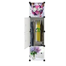 Tủ nhựa thông minh cao cấp màu trắng họa tiết hoa 4 tầng 2 ngăn - TN0021