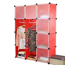 Tủ nhựa đa năng màu đỏ vân chìm 4 tầng 8 ngăn - TN0028