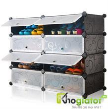 Tủ nhựa đựng giày  dép đa năng 4 tầng 8 ngăn màu đen hoa văn chìm - TN0014