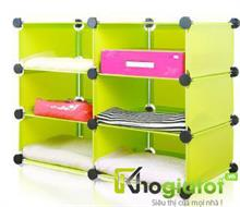 Tủ đựng đồ đa năng 3 tầng 6 ngăn màu vàng chanh - TN0001