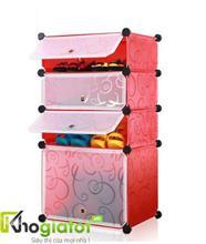 Tủ nhựa lắp ghép thông minh đựng giày và bốt màu đỏ 4 tầng 4 ngăn - TN0006