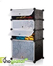 Tủ nhựa lắp ghép đa năng đựng giày và bốt màu đen 4 tầng 4 ngăn - TN0002