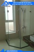 cửa kính cường lực tại đà nẵng - cabin phòng tắm kính mở quay 135