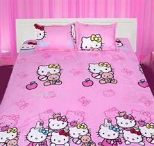 Combo Bộ ga và 02 vỏ gối họa tiết Hello Kitty gia đình