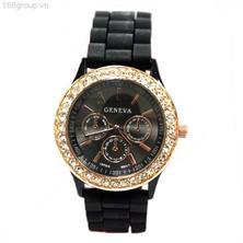 Đồng hồ thời trang nữ GENEVA - GNV02 (Mặt đen, viền vàng)