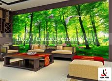 Vách xuyên sáng phòng khách in rừng cây