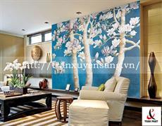 Vách xuyên sáng phòng khách in hoa đào