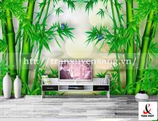 Vách xuyên sáng phòng khách in hình ảnh cây trúc