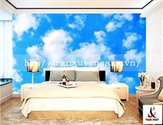 Vách xuyên sáng phòng ngủ in hình ảnh bầu trời xanh
