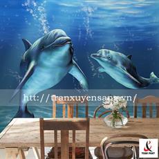 Vách xuyên sáng phòng bếp in hình 2 chú cá Voi
