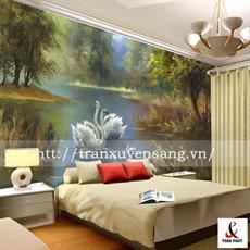 Vách xuyên sáng phòng ngủ in hình 2 chú Thiên Nga