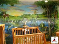Vách xuyên sáng phòng ngủ trẻ em in hình thiên nhiên