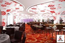 Mẫu trần nhà hàng tấm trắng in hình hoa xuyên sáng