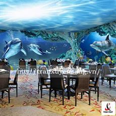 Mẫu trần nhà hàng in hình bầu trời xanh