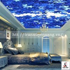 Mẫu trần phòng ngủ xuyên sáng in ngôi sao 5 cánh