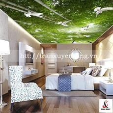 Mẫu trần phòng ngủ xuyên sáng in rừng tre