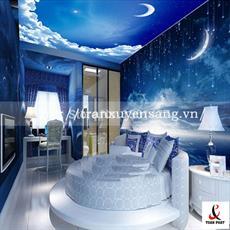 Mẫu trần và vách phòng ngủ xuyên sáng in bầu trời đêm