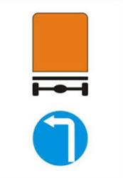 Biển báo Hướng đi phải theo cho các xe chở hàng nguy hiểm (biển báo 310a)