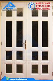 Cửa nhôm - cửa đi màu trắng sữa chia ô