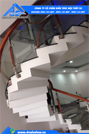 Cầu thang kính cường lực tại đà nẵng _ Cầu thang cong lượn