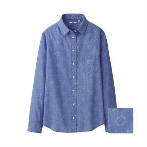 Áo sơ mi nữ denim  hoa văn xinh xắn - light blue - WS102