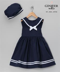 Đầm coban xòe kiểu dáng thủy thủ cho bé đến trường SC3
