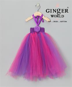 Đầm Tutu màu tím hồng cột dây TT3