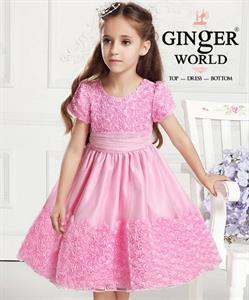 Đầm dạ hội pink flower lady (tiểu thư Hồng Hoa ) HQ454_H GINgER WORLD
