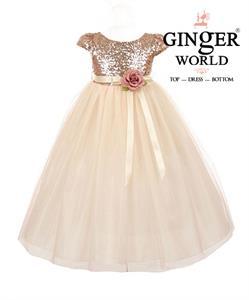 Đầm Dạ Hội Sequin Vàng Tuyệt Đẹp HQ483 GINgER WORLD