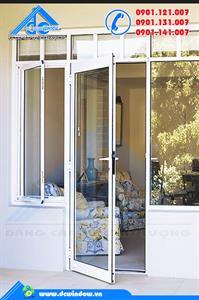 Cửa nhôm - cửa đi màu trắng sữa kính suốt