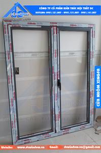 Cửa nhôm xingfa - cửa sổ 2 cánh mở quay - màu ghi xanh