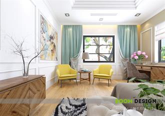 Thiết kế nội thất phòng ngủ Master - Biệt thự Vinhomes Riverside Long Biên
