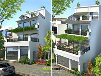 Thiết kế kiến trúc biệt thự chia lô 110m2 - Chị Tuyết, khu đô thị Sài Đồng, Long Biên, HN