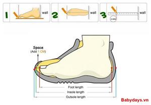 Cách chọn size giày dép cho bé