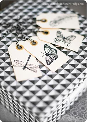 Làm tag giấy dễ thương hình côn trùng và hoa lá